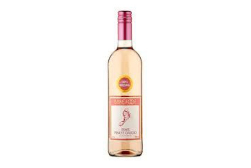 Bottle of Barefoot Pink Pinot Grigio 75cl.